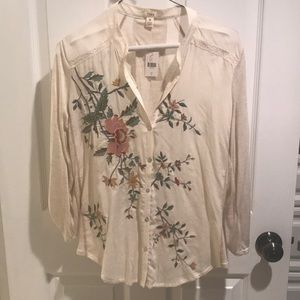 NWT Tiny from Anthropologie embroidered top
